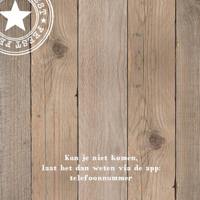 Uitnodiging geslaagd foto houtprint 2