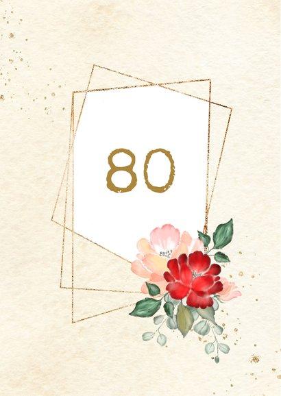 Uitnodiging gouden kaders met rode en roze rozen 2