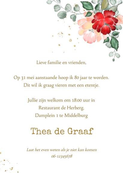 Uitnodiging gouden kaders met rode en roze rozen 3