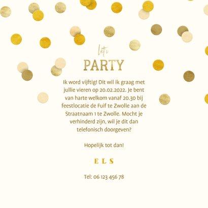 Uitnodiging gouden 'let's party' met confetti 3