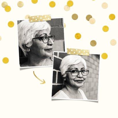 Uitnodiging gouden 'met pensioen' met confetti 2