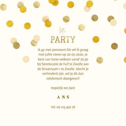 Uitnodiging gouden 'met pensioen' met confetti 3