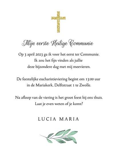 Uitnodiging heilige communie bladeren goud kruis foto 3