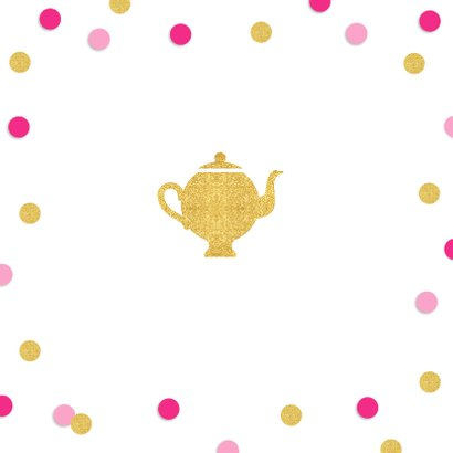 Uitnodiging High Tea confetti goud roze 2