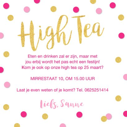 Uitnodiging High Tea confetti goud roze 3