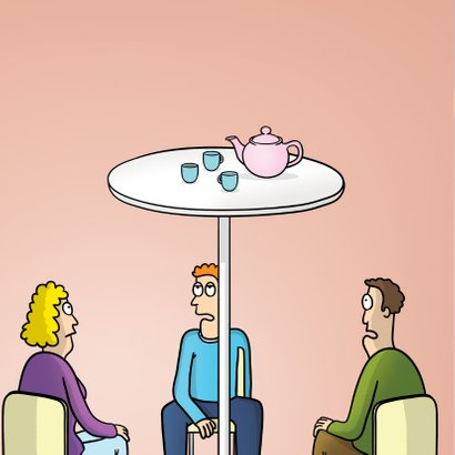 Uitnodiging high tea met grappige cartoon 2