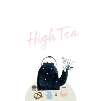 Uitnodiging High Tea met illustratie theepot 2