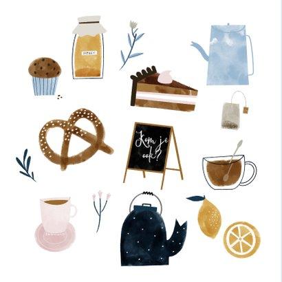 Uitnodiging High Tea met vrolijke illustraties 2