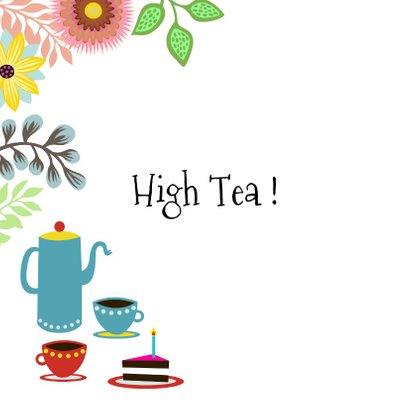 Uitnodiging High Tea met vrolijke kat en bloemen 2
