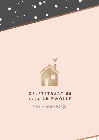 Uitnodiging hip stijlvol housewarming verhuisd huisje goud 2