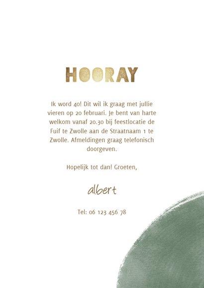Uitnodiging 'hooray' 30 jaar met verfstrepen gou4 3
