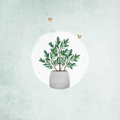 Uitnodiging housewarming groen goud plantje foto's 2
