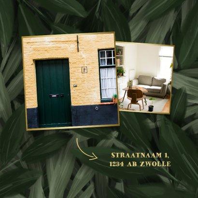 Uitnodiging housewarming jungle bladeren met gouden accenten 2