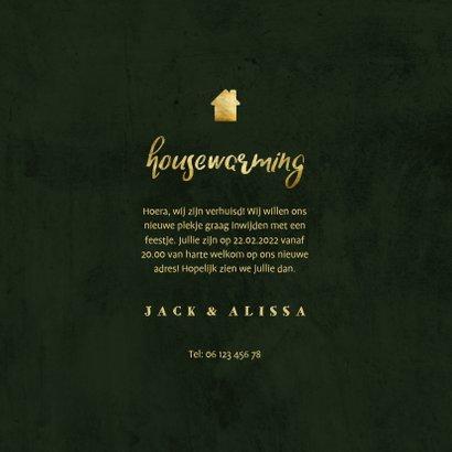 Uitnodiging housewarming jungle bladeren met gouden accenten 3