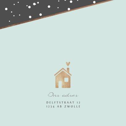 Uitnodiging housewarming stijlvol goud huisje champagne foto 2