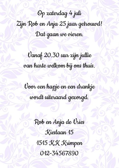 Uitnodiging huwelijk jubileum aanpasbaar getal 25 3