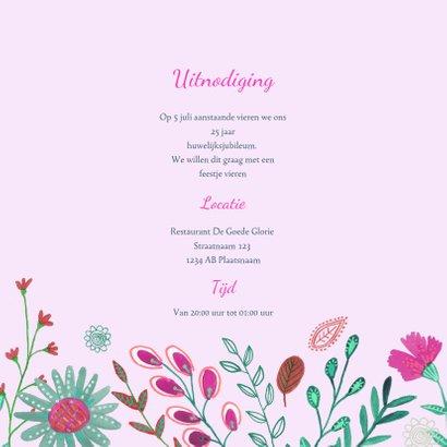 Uitnodiging Huwelijks jubileum 25 jaar bloemen 3