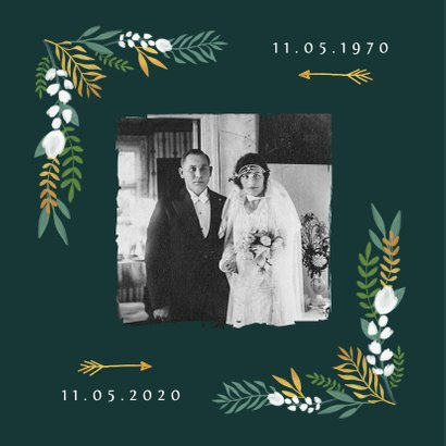 Uitnodiging huwelijksjubileum 50 jaar goudlook met bloemen 2