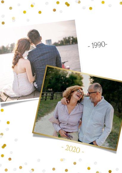 Uitnodiging huwelijksjubileum met grote foto en confetti 2