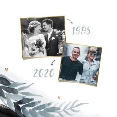 Uitnodiging jubileum 25 jaar stijlbol bladeren foto hartjes 2