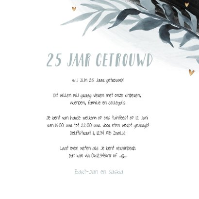 Uitnodiging jubileum 25 jaar stijlbol bladeren foto hartjes 3