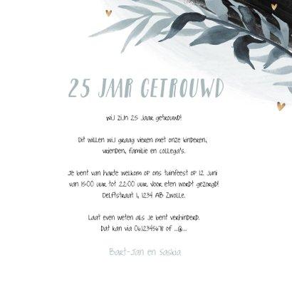 Uitnodiging jubileum 25 jaar stijlvol bladeren foto hartjes 3