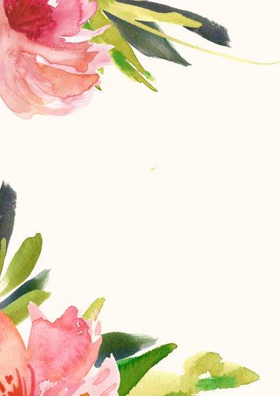 Uitnodiging jubileum botanische wegwijzer bloemen hout Achterkant
