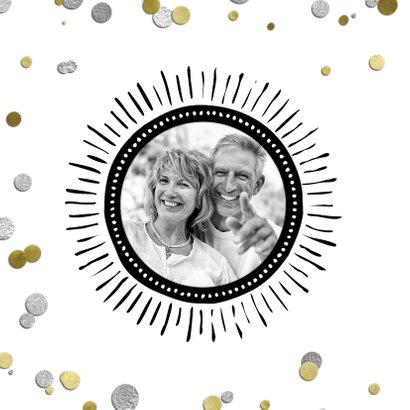 Uitnodiging jubileum confetti ballon 25 zilver 2