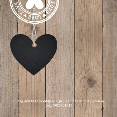 Uitnodiging jubileum hout foto hartje 2