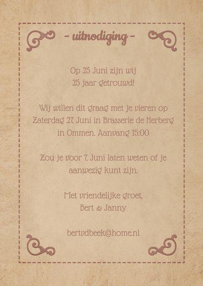 Uitnodiging jubileum klassieke poster 25 jaar getrouwd  3