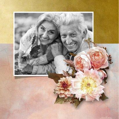 Uitnodiging jubileum stijlvolle bloemen oude meesters roze  2