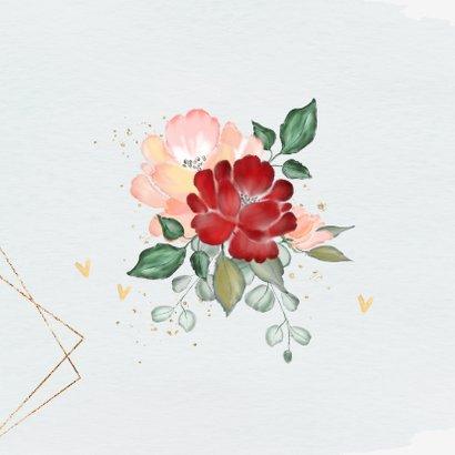 Uitnodiging jubileum trouwdag met rozen en goud 2