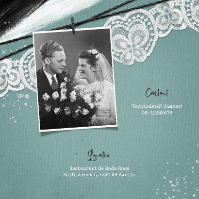 Uitnodiging jubileumfeest vintage kant spetters fotos 2