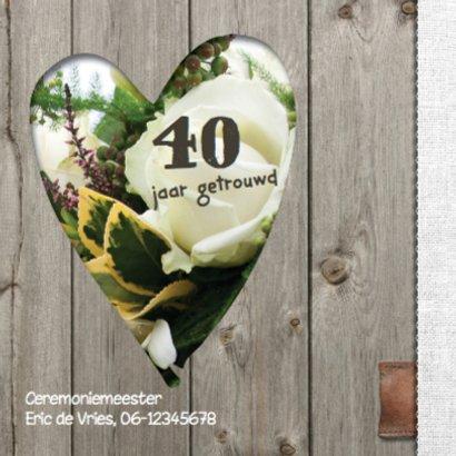 Uitnodiging jubileumkaart 40 jaar - bloemen hart 2