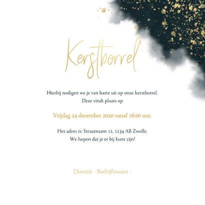 Uitnodiging kerstborrel blauwe waterverf, gouden spetters 3