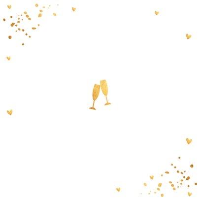 Uitnodiging kerstborrel confetti goudlook 2