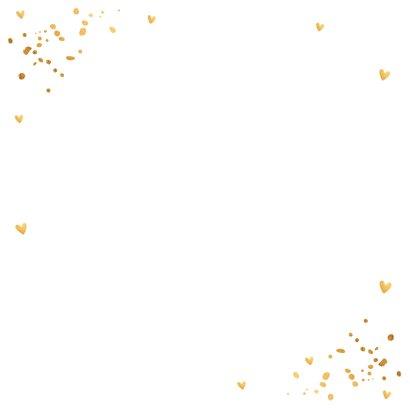 Uitnodiging kerstborrel confetti goudlook Achterkant