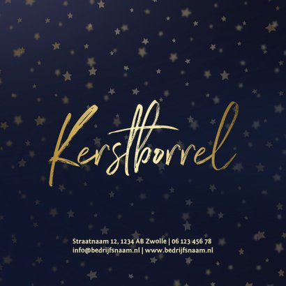 Uitnodiging kerstborrel goud met sterren 2