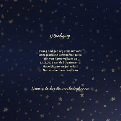 Uitnodiging kerstborrel goud met sterren 3