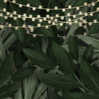Uitnodiging kerstborrel jungle bladeren met lampjes 2