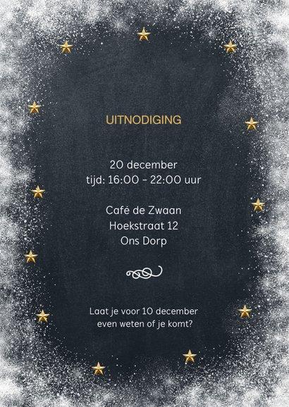 Uitnodiging kerstborrel krijtbord sneeuw 2