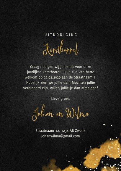 Uitnodiging kerstborrel met proostende glazen goud 3