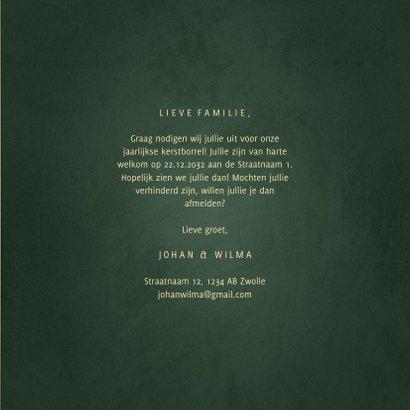Uitnodiging kerstborrel met sterren en gouden tekst 3