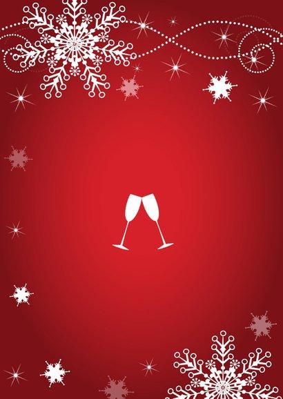 Uitnodiging kerstborrel sneeuwvlokken rood 2