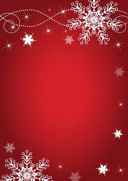Uitnodiging kerstborrel sneeuwvlokken rood Achterkant