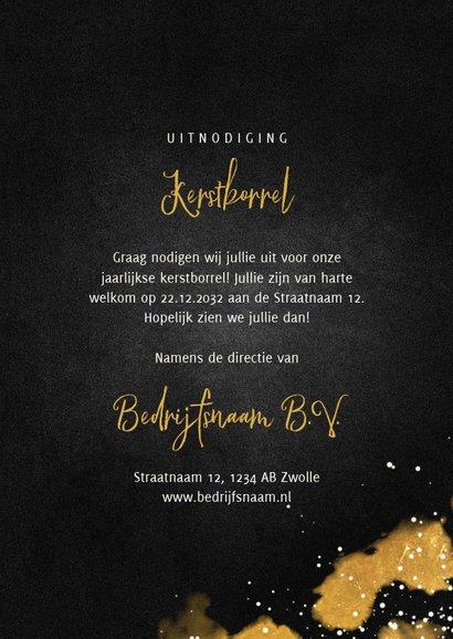 Uitnodiging kerstborrel zakelijk met proostende glazen goud 3
