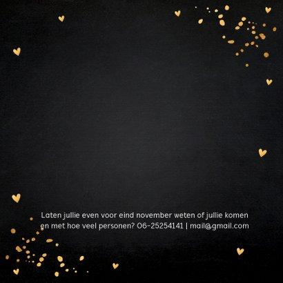 Uitnodiging kerstdiner gouden confetti krijtbord 2