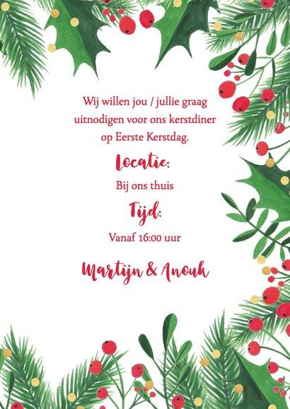 Uitnodiging kerstdiner kersttakken, hulst en confetti 3