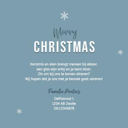 Uitnodiging kerstdiner stijlvol winter pastel blauw 3