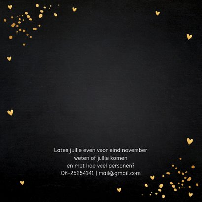 Uitnodiging kerstdiner zwart goudlook confetti 2